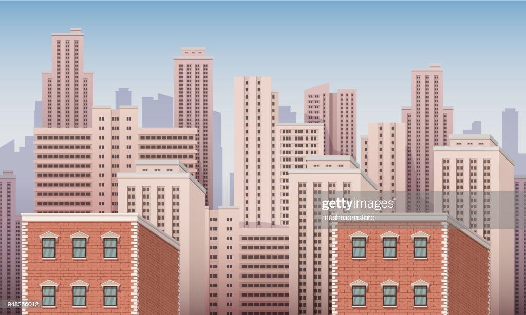 City urban landscape seamless vector illustration.