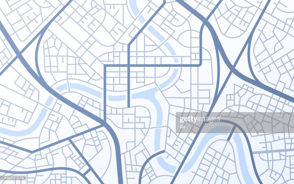 City Urban Streets Roads Abstract Map : stock illustration