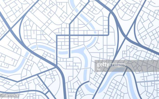 city urban streets roads abstract map - dividing line road marking stock illustrations