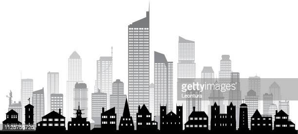 city (all buildings are complete and moveable) - skyscraper stock illustrations
