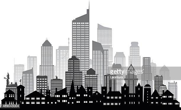 city (buildings are detailed, moveable and complete) - generic location stock illustrations