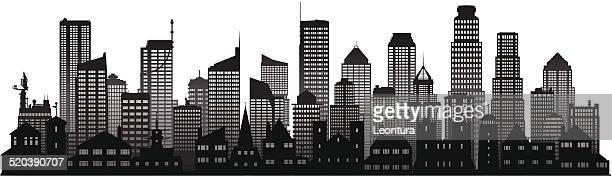 city (complete, separate detailed buildings) - generic description stock illustrations, clip art, cartoons, & icons