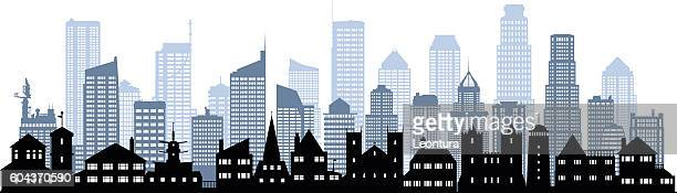 city (each building is moveable and complete) - generic description stock illustrations, clip art, cartoons, & icons