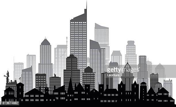 city (each building is moveable and complete) - generic location stock illustrations