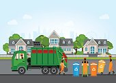 City waste recycling concept with garbage truck and garbage collector.