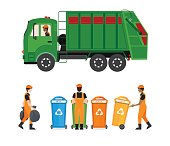 City waste recycling concept with garbage truck and garbage collector isolated on white background.
