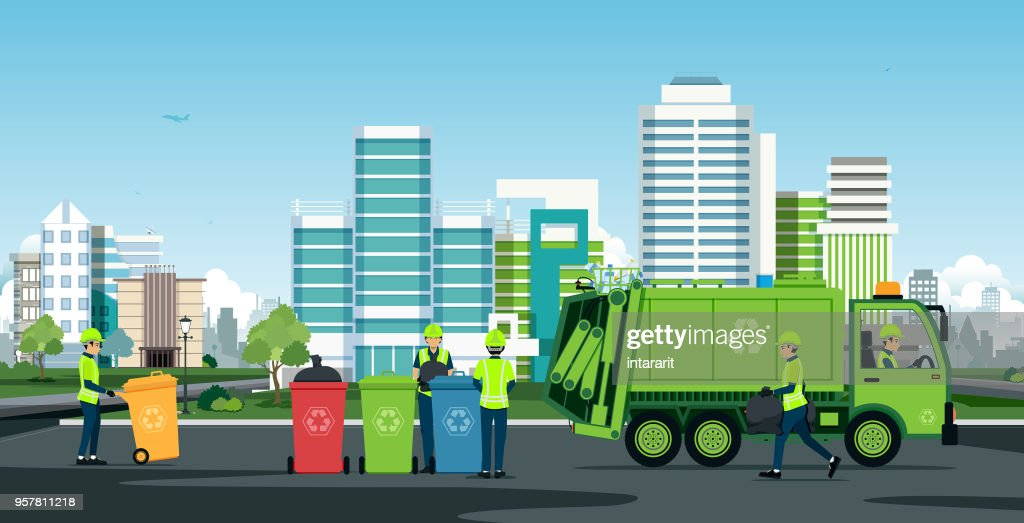 City waste trucks