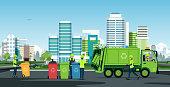 City waste trucks