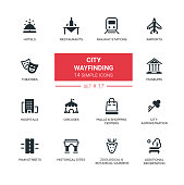 City wayfinding - modern simple icons, pictograms set