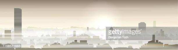 city with pollution problem, smog - pollution stock illustrations