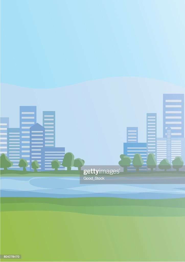 City with skyscrapers on the horizon and the river. Cityscape vector illustration.
