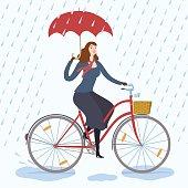 City woman cyclist under the rain vector illustration