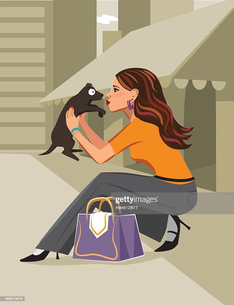 City Woman Holding Dog