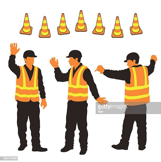 city workers & security cones - safety equipment stock illustrations, clip art, cartoons, & icons