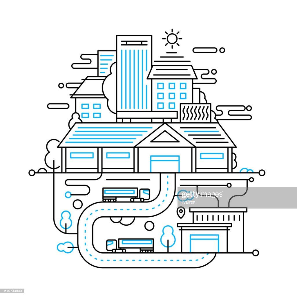 Cityscape and city life - line design composition