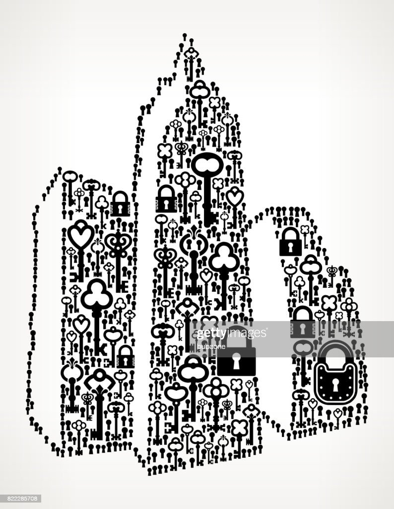 Cityscape  Antique Keys Black and White Vector Pattern : stock illustration