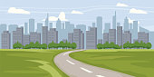 Cityscape background. Buildings silhouette cityscape. Modern architecture. Urban landscape. Horizontal banner with megapolis panorama. Vector illustration