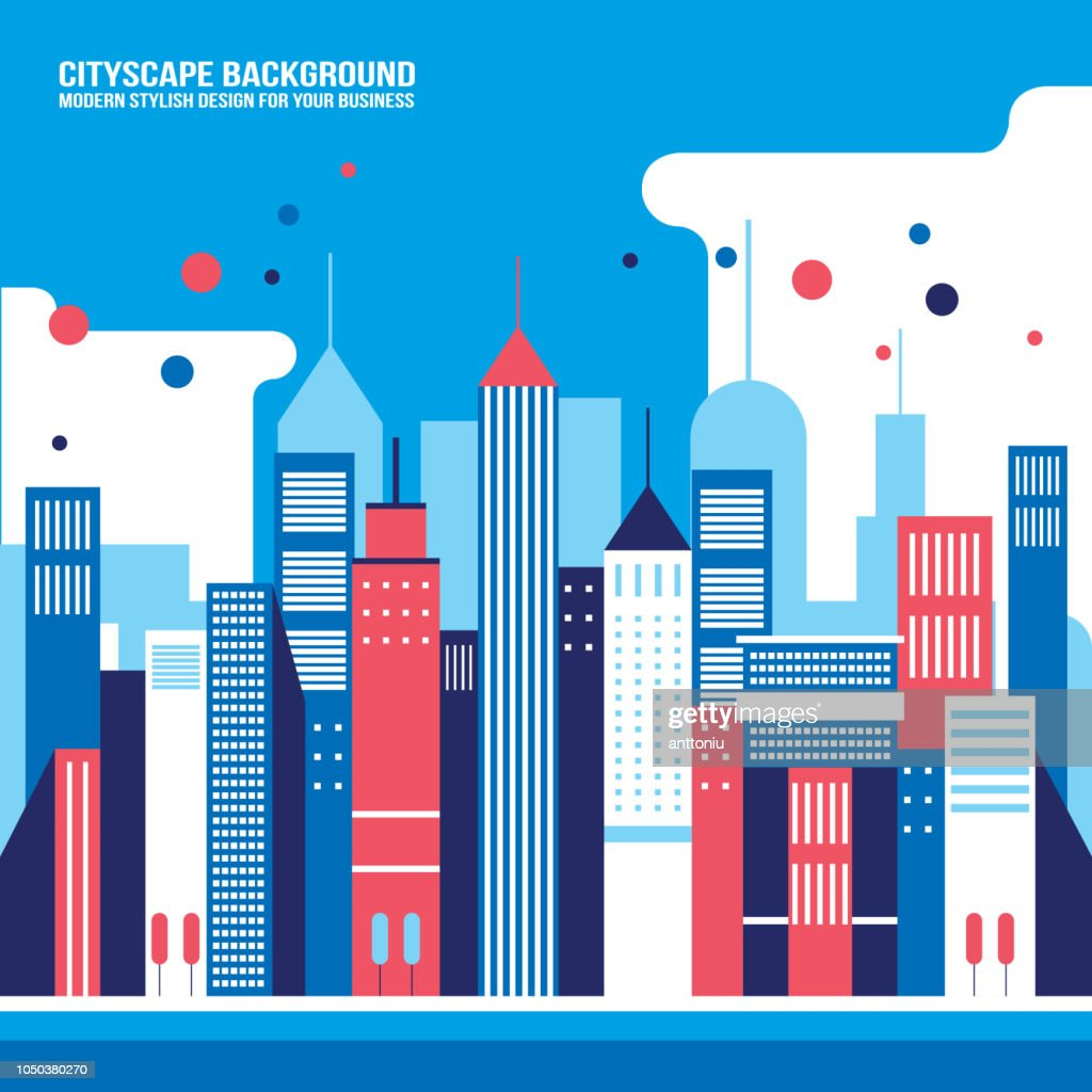 Cityscape background Downtown with skyscrapers Modern flat design style