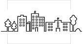 cityscape, black silhouette of town, vector icon