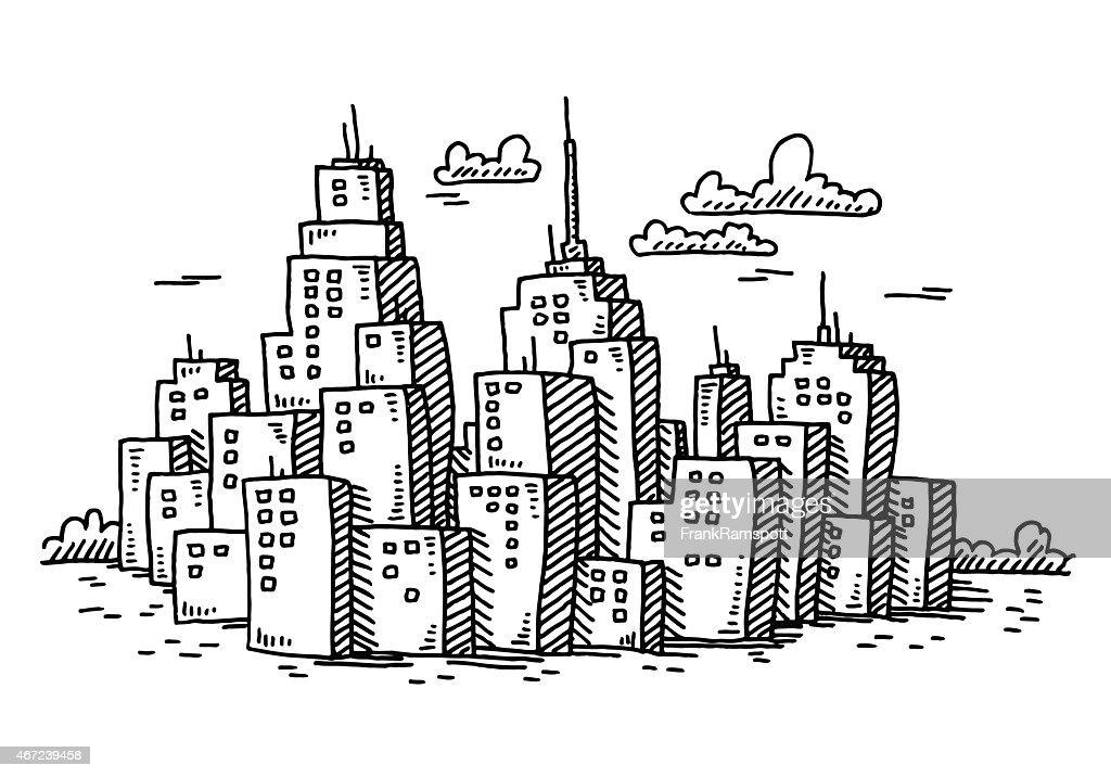 Cityscape Cartoon Skyscraper Buildings Drawing High