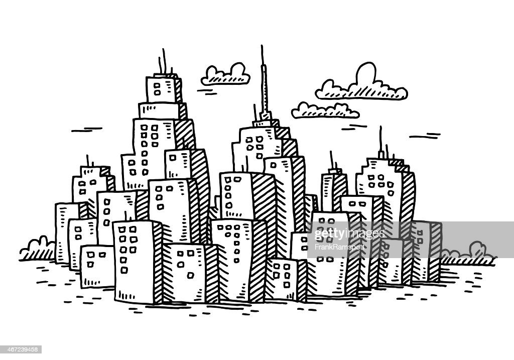 Cityscape Cartoon Skyscraper Buildings Drawing