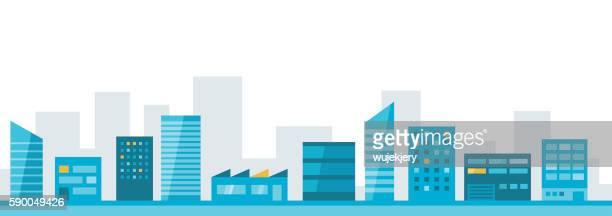 cityscape, city, flat design illustration - フラットデザイン 街点のイラスト素材/クリップアート素材/マンガ素材/アイコン素材