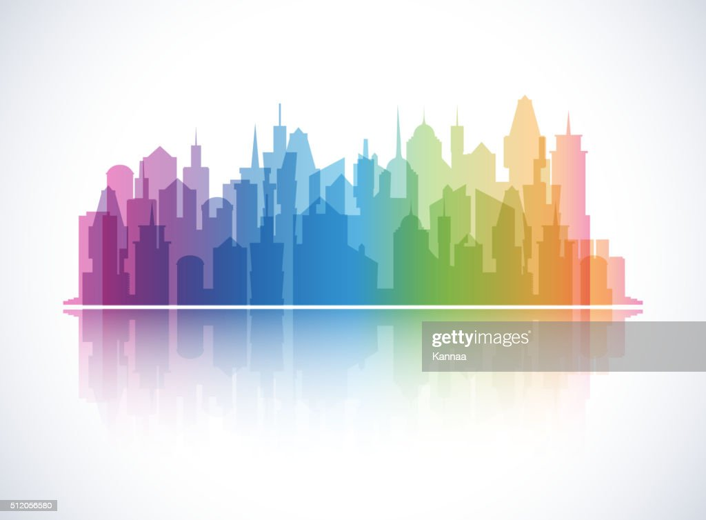 Cityscape colorful background. Skyline silhouette