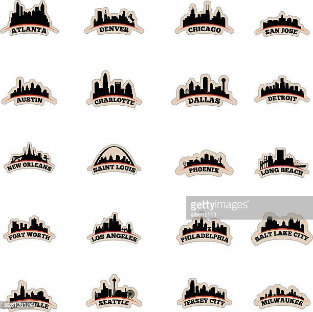 us cityscape graphics - atlanta stock illustrations, clip art, cartoons, & icons