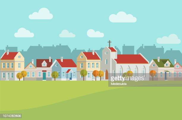 cityscape home vector city hall church tree - chapel stock illustrations, clip art, cartoons, & icons