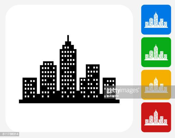 Cityscape Icon Flat Graphic Design