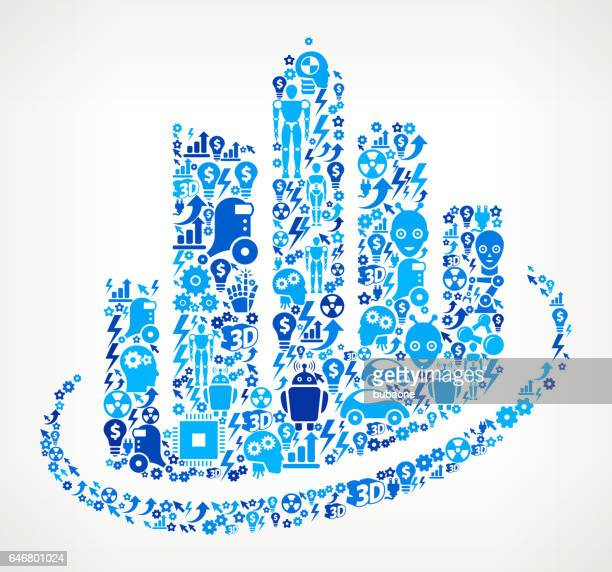 Cityscape Icon Robot and Robotics Automation Vector Pattern