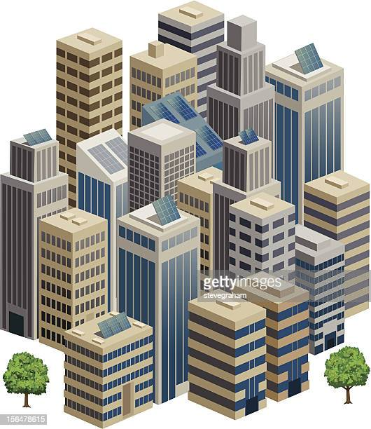 cityscape in 3d isometric view. - skyscraper stock illustrations