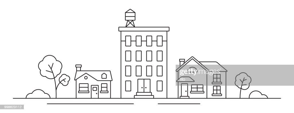 Stadsgezicht lijntekening : Stockillustraties