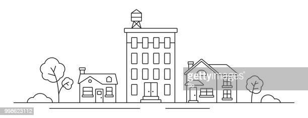 cityscape line drawing - house exterior stock illustrations, clip art, cartoons, & icons