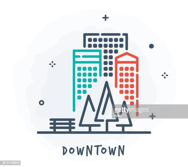 cityscape line icon - sparks stock illustrations, clip art, cartoons, & icons