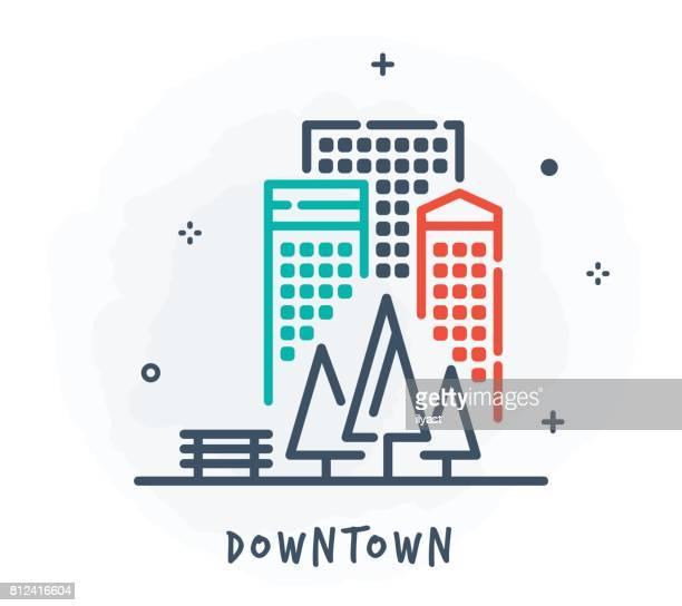 Paysage urbain ligne icône