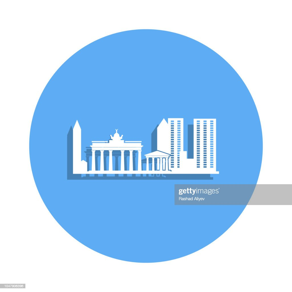 cityscape of Athens icon in badge style. One of Cityscape collection icon can be used for UI, UX