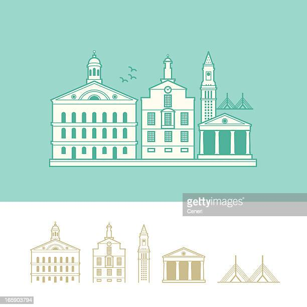 cityscape of boston, massachusetts, usa - faneuil hall stock illustrations, clip art, cartoons, & icons