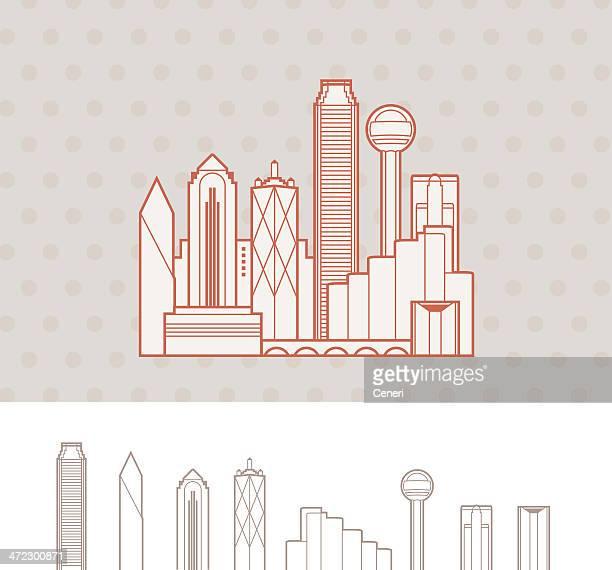 skyline von dallas, texas, usa - dallas stock-grafiken, -clipart, -cartoons und -symbole