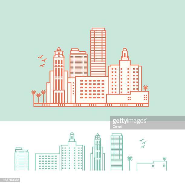 cityscape of miami, florida, usa - miami stock illustrations