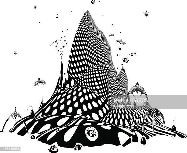 illustrations, cliparts, dessins animés et icônes de ville de l'avenir avec un espace de navires. - ville futuriste
