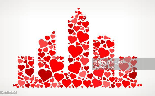 Cityscape Red Hearts Love Pattern