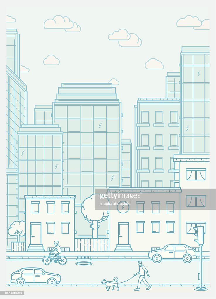 Cityscape scene with neighbourhood and people : stock illustration
