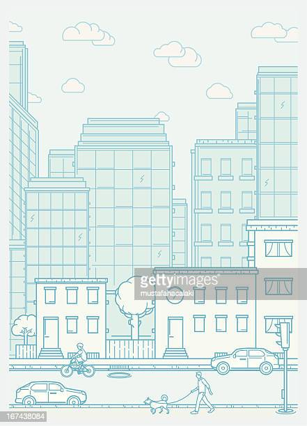 Cityscape scene with neighbourhood and people