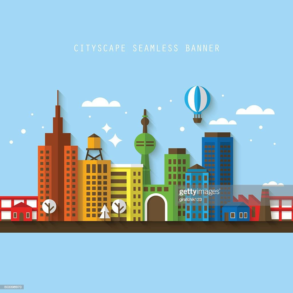 Cityscape seamless banner with flat modern icons