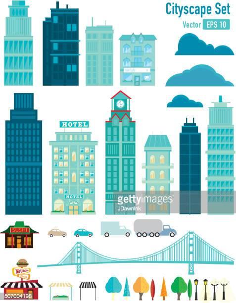 ilustraciones, imágenes clip art, dibujos animados e iconos de stock de paisaje urbano de - puente colgante