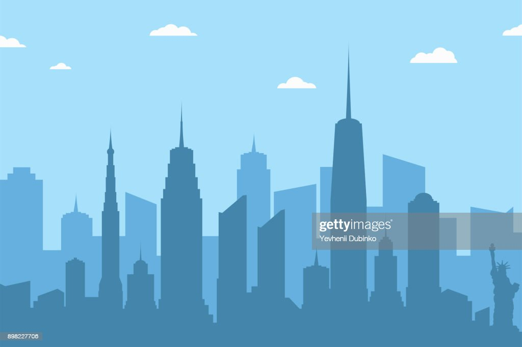 Cityscape silhouette background. Abstract city skyline with skyscrapers and clouds on blue background