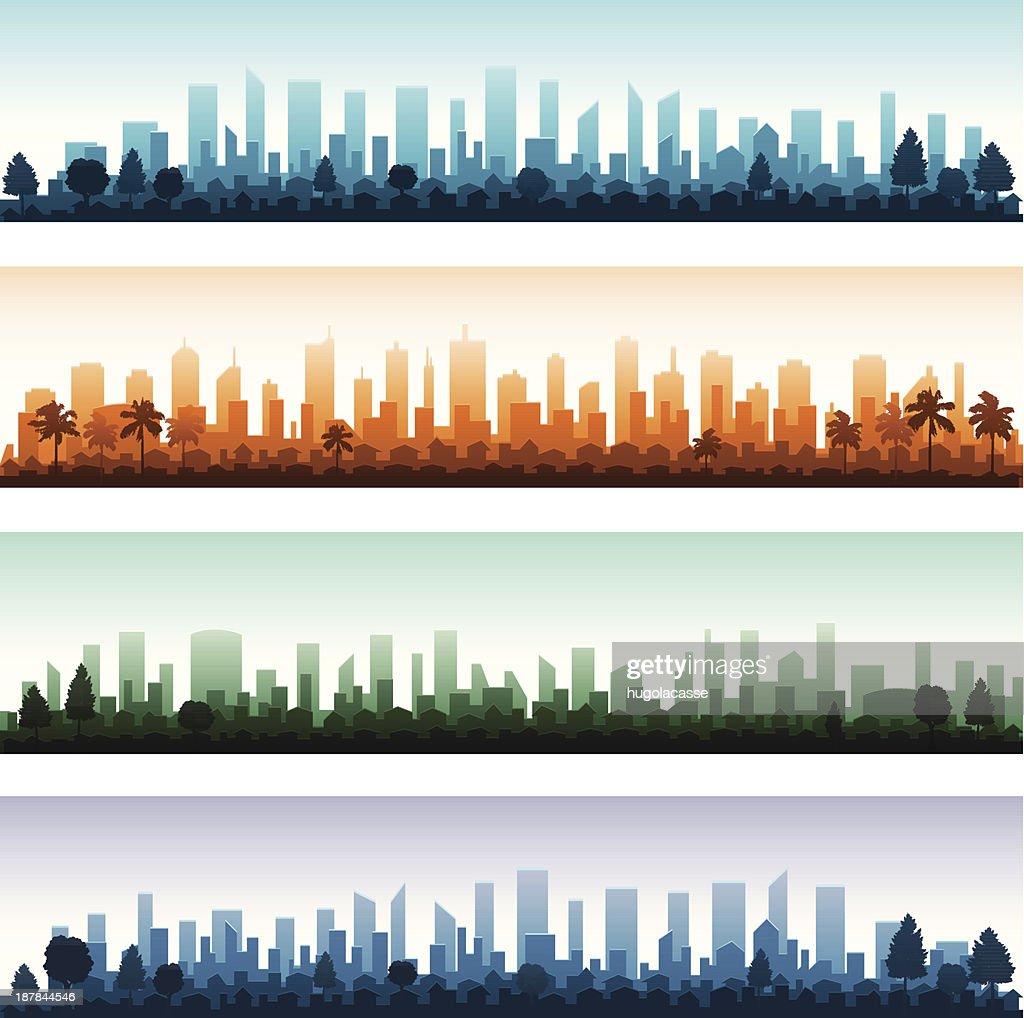 Cityscape silhouette city panoramas
