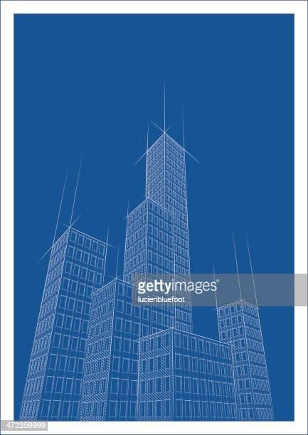 cityscape two blueprint - skyscraper stock illustrations