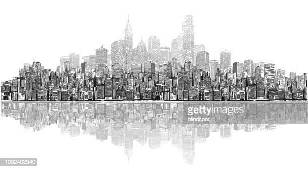 cityscape - promenade stock illustrations, clip art, cartoons, & icons